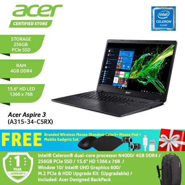 Acer Aspire 3 A315-34-C5RX NX.HE3SM.003 /Celeron/4GB/256GB SS /15.6-Inch/W10 /Obsidian Black+Free Premium Gift Malaysia
