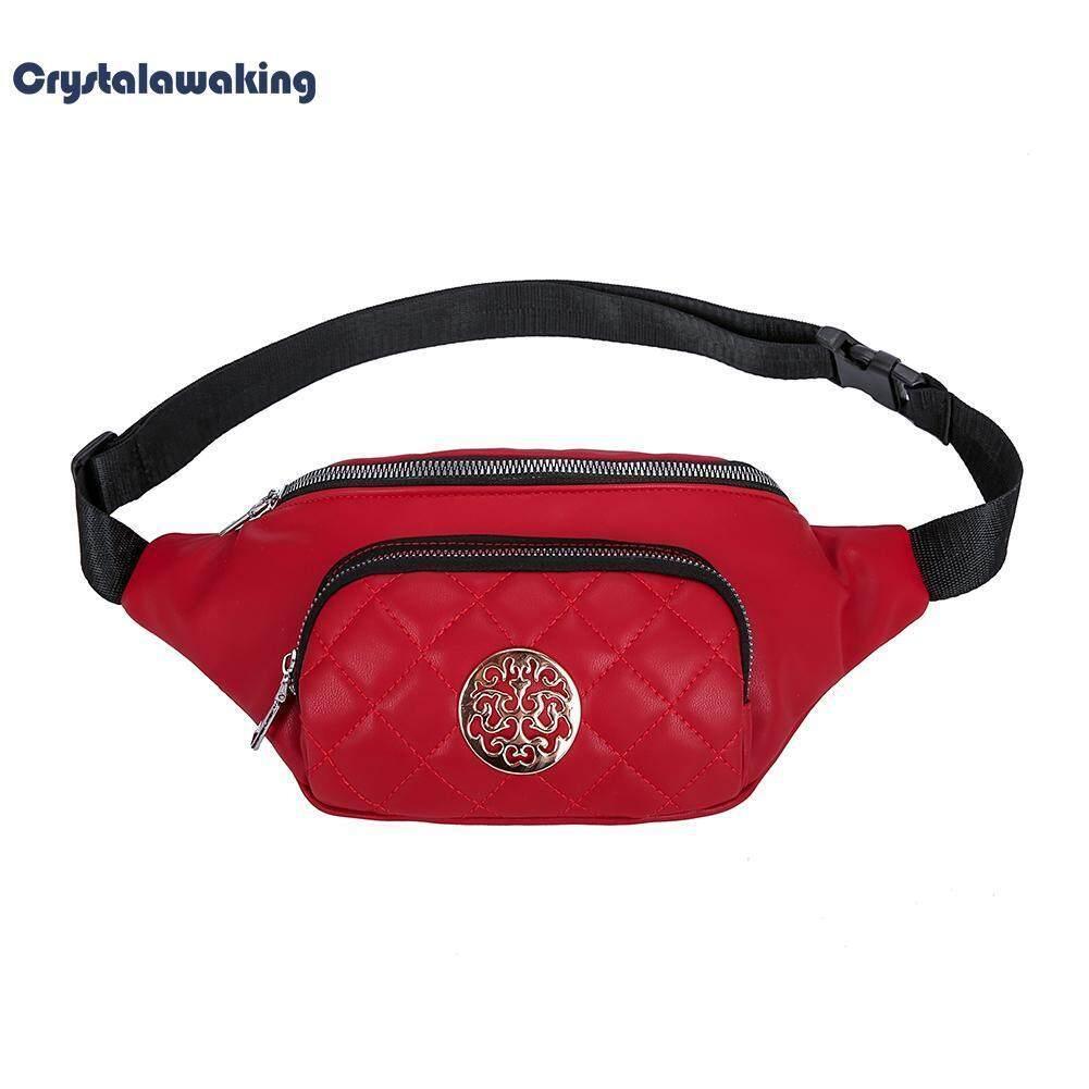 PU Solid Color Chest Bags belt Shoulder Bags Women Lattice Waist Packs
