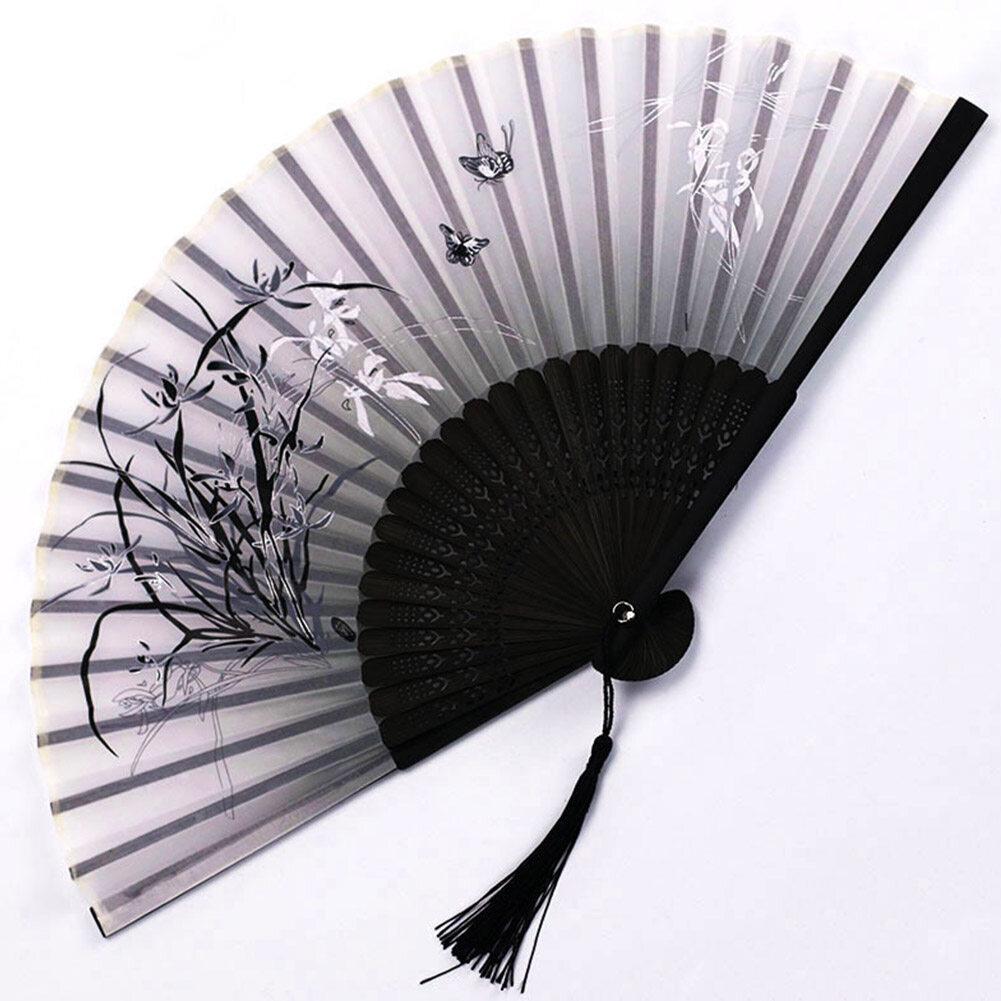 Quạt cầm tay dạng gấpbằng vảithanh trephong cách Trung Quốc cổ xưa cho nữ - INTL