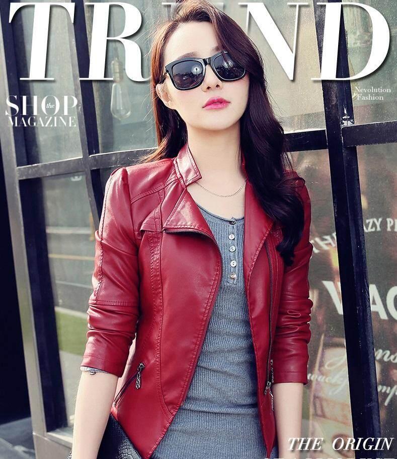 a8467e0c0d6 ENCONTRAR Women PU Leather Jacket Long Sleeve Short Coat Outerwear  Motorcycle Jacket M-2XL