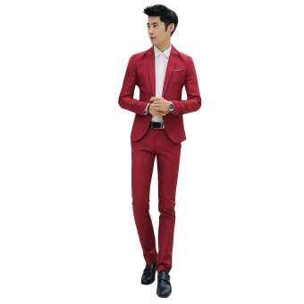 ผู้ชายอย่างเป็นทางการงานแต่งงานชุดสูทเจ้าบ่าวชุดหนึ่งปุ่ม Slim เสื้อโค้ทเสื้อแจ็คเก็ตใส่สบายกางเกง-