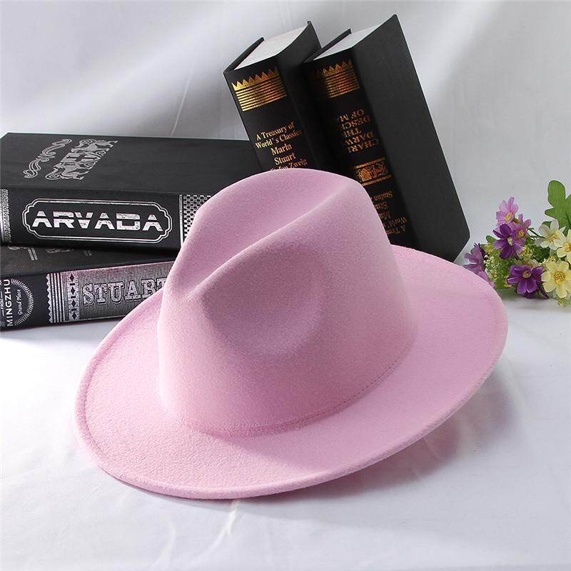 c4ea0754 Solid Color Fedoras Women Jazz Cap Classical Pink Jazz Hat Wide Flat Brim  Outdoor Sunhat Adjustable