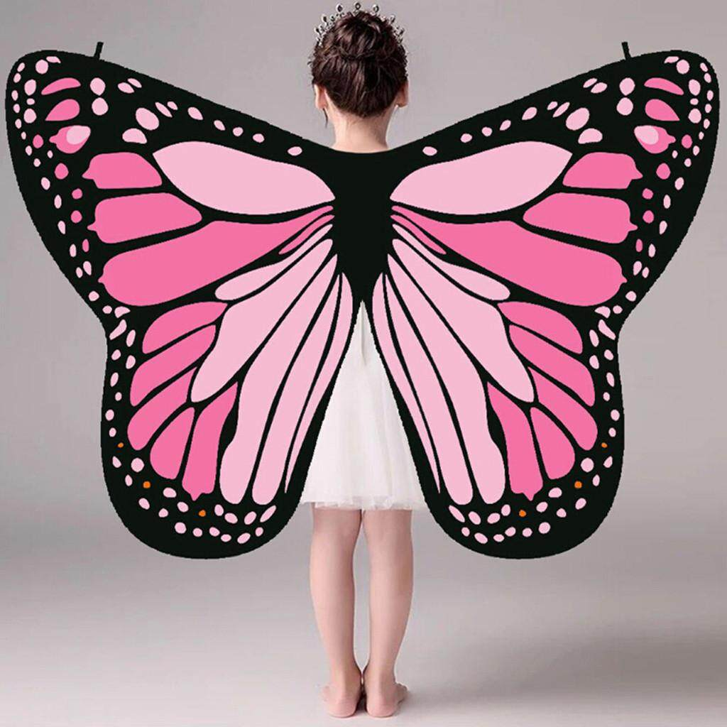 Warmihome Kid Baby Girl Butterfly Wings Shawl Scarves Nymph Pixie Poncho Costume Accessory