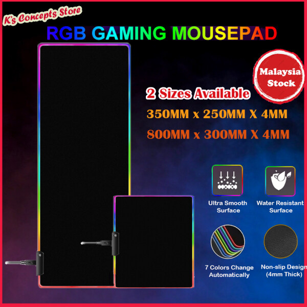 【Ready Stock】RGB Lightning Gaming Mouse Pad 4MM Thick Waterproof Fabric Computer Table Mat【Fast Delivery】 Malaysia
