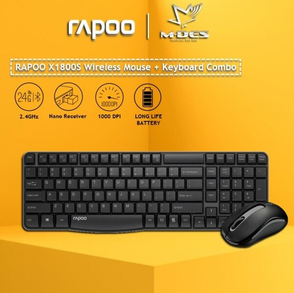 Rapoo X1800S Wireless Mouse + Keyboard (Combo Set) 2 Years Warranty Malaysia