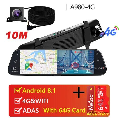 "10/"" Dual Lens Bluetooth WiFi 4G Android Car Rearview Mirror DVR Camera Dash Cam"