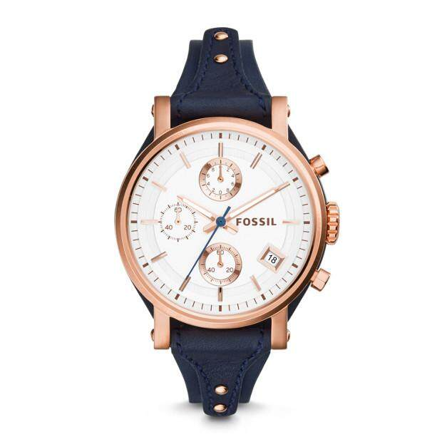 Original Fossil Womens Boyfriend Chrono 38mm Navy Blue Leather Watch with 2 year warranty ES3838 Malaysia