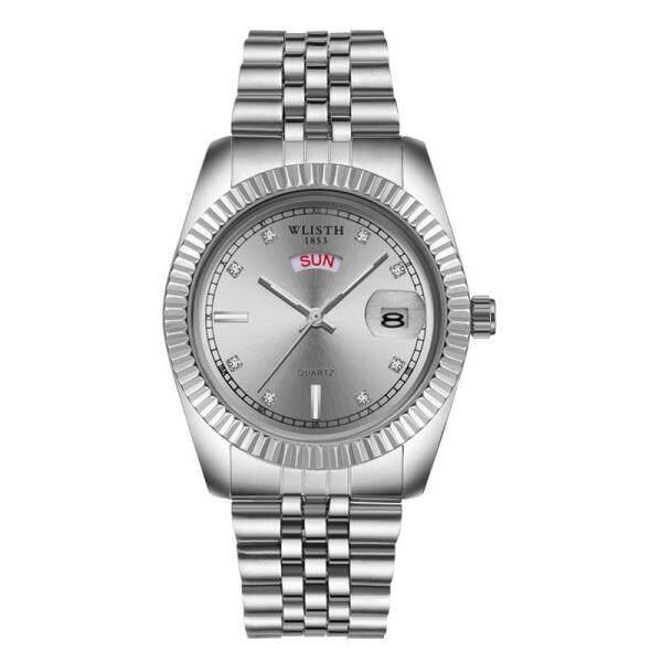Homester Wlisth Business Watches Mens Calendar Waterproof Watch Steel Belt Quartz Wristwatch Fashion Luminous Clock for Men + Free Gift(Mens Casual Leather Bracelet) Malaysia