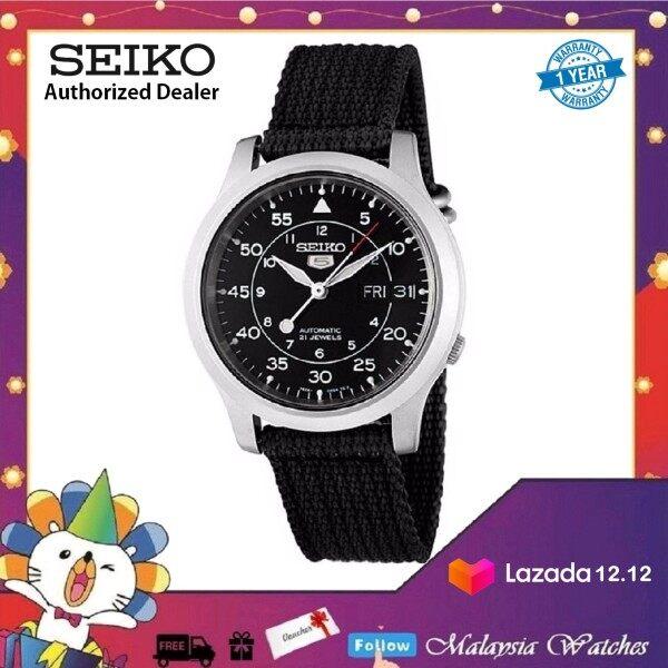 Seiko 5 Military SNK809K2 Automatic See-thru Back Black Nylon Strap Watch (Black) Malaysia