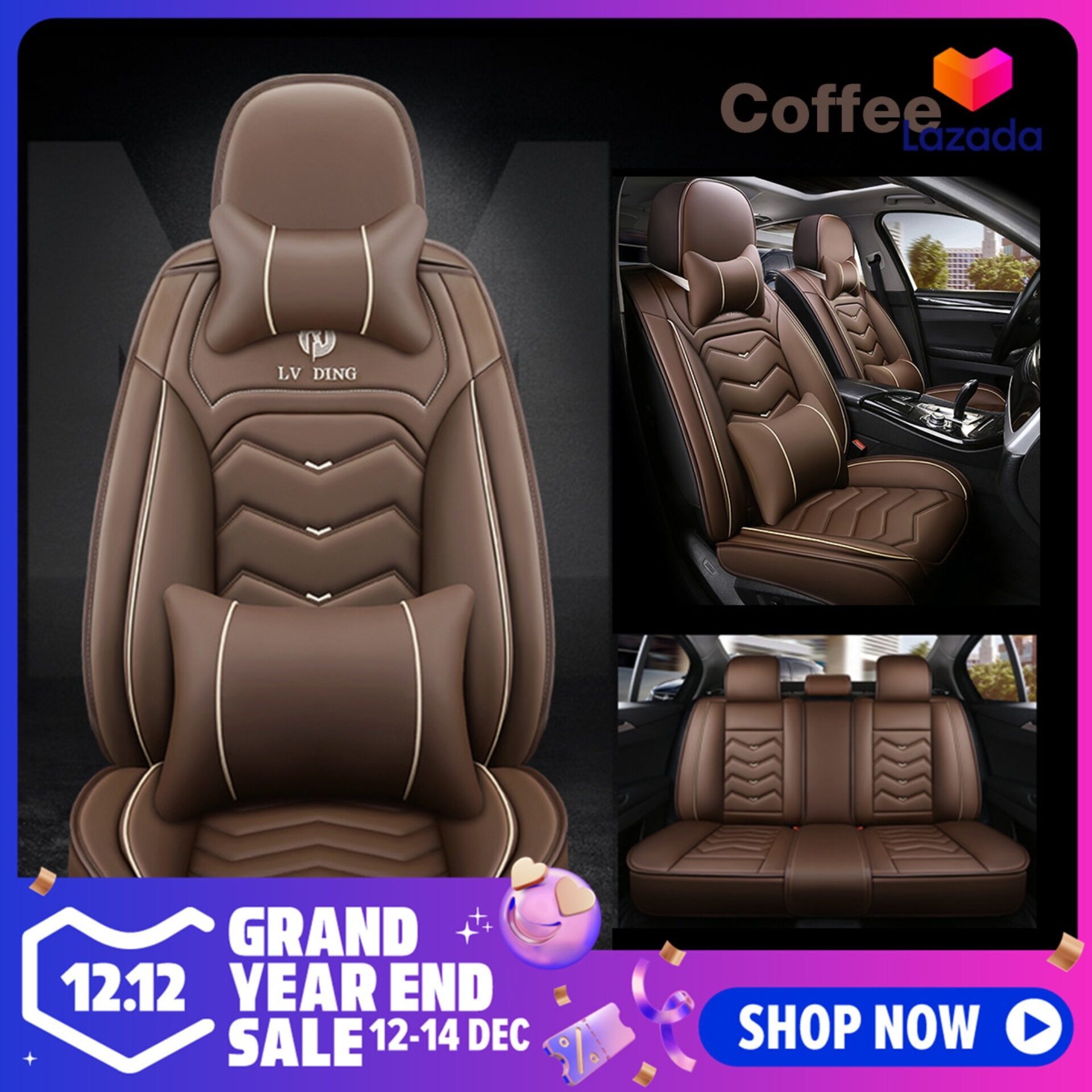 Universal Standard Full Set 5-Seat Front /& Rear PU Leather Seat Cover For Cars