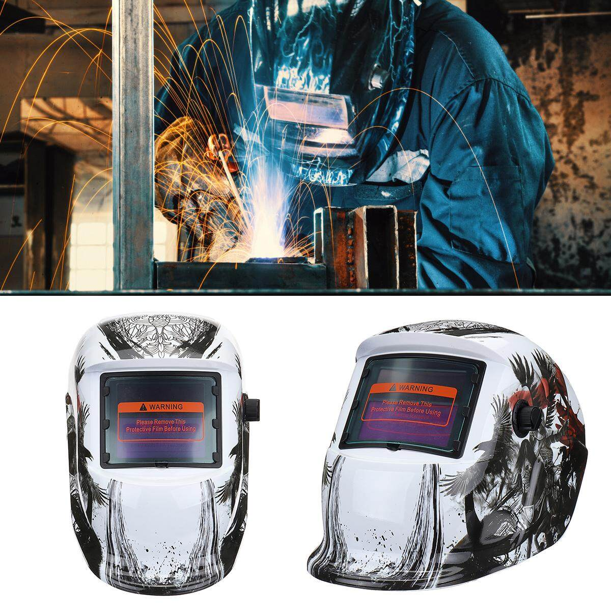 【Free Shipping + Flash Deal】Solar Power Automatic Dimming Welding Helmet Welding Mask Adjustable Head Band Automatic Photoelectric Welder Mask
