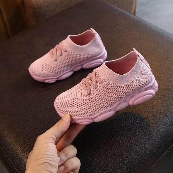 Giá bán Giày thể thao chạy cho trẻ em, vải lưới co giãn, màu trơn, dành cho bé trai và bé gái