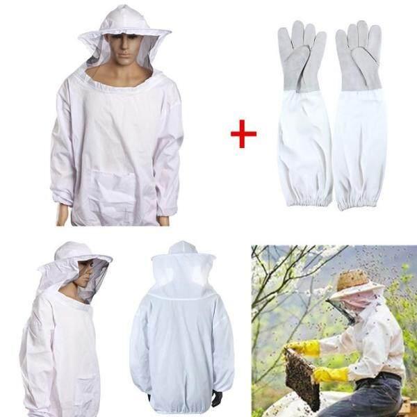 Bee Keeping Beekeeping Jacket Suit with Veil+Goatskin Gloves Beehive Tools Sets