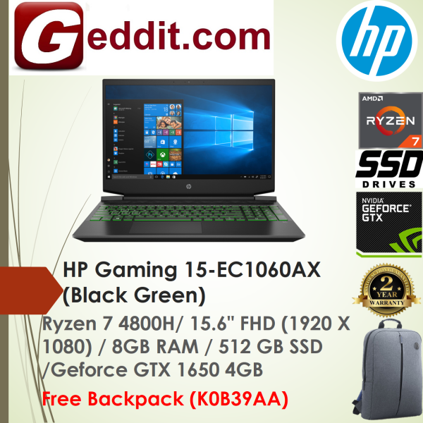 HP PAVILION GAMING 15-EC1060AX LAPTOP ( RYZEN 7 4800H,8GB,512GB SSD,15.6 FHD,GTX1650 4GB,WIN10) FREE BACKPACK Malaysia