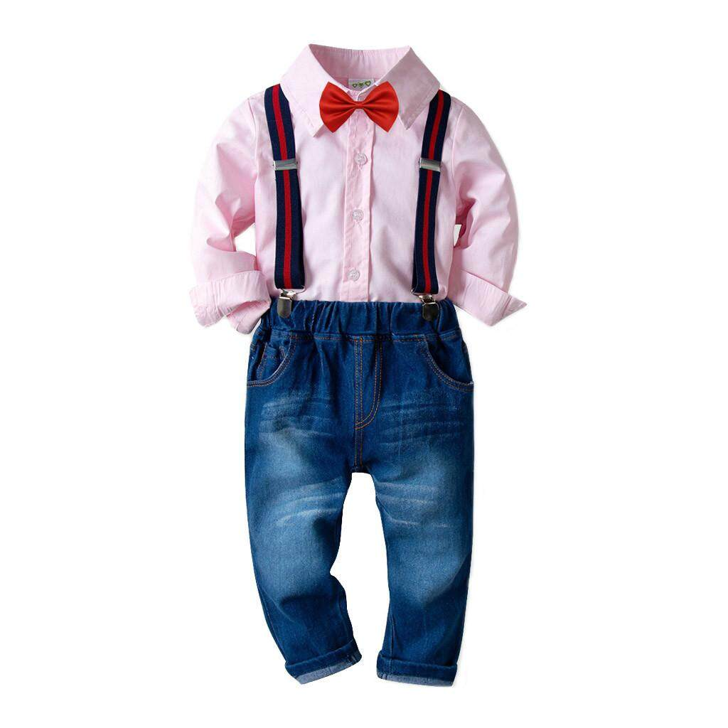 c6ffbba7a Myapple Toddler Baby Kids Boys Gentleman Cotton Long-Sleeved Shirt Trousers  Pants Set