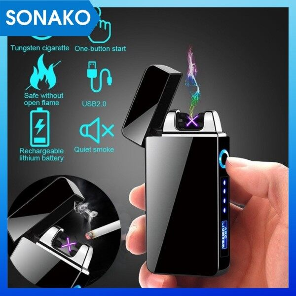 Sonako High Quality Press Button Dual Arc Rechargeable USB Charging Lighter Black & Gift Box