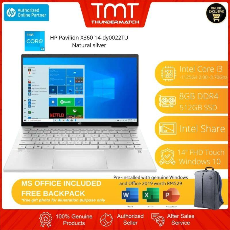 HP Pavilion X360 14-dy0022TU (3G6M9PA) Laptop | i3-1125G4 | 8GB RAM 512GB SSD | 14 FHD Touch | W10 | MS OFFICE + BAG Malaysia