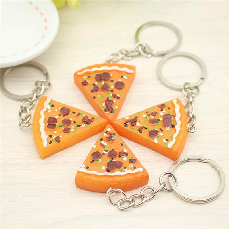 MWJ 1pc/6pcs Pizza Pendant Key Chain Keyring Key Holder Purse Bag Charm Key Jewelry