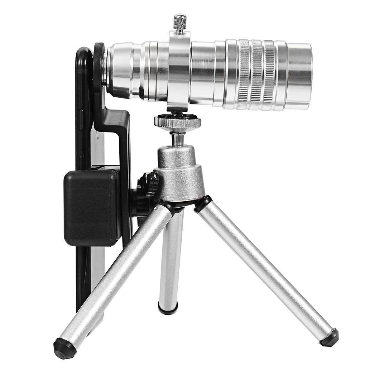 【Free Pengiriman + Flash Deal】12x Aluminium Universal Teleskop Telefoto Bermata Telepon Lensa Kamera