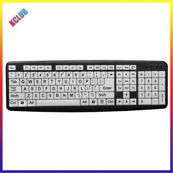 104 Keys USB Wired Large Print White Keys Black Letter Keyboard for Elderly Singapore