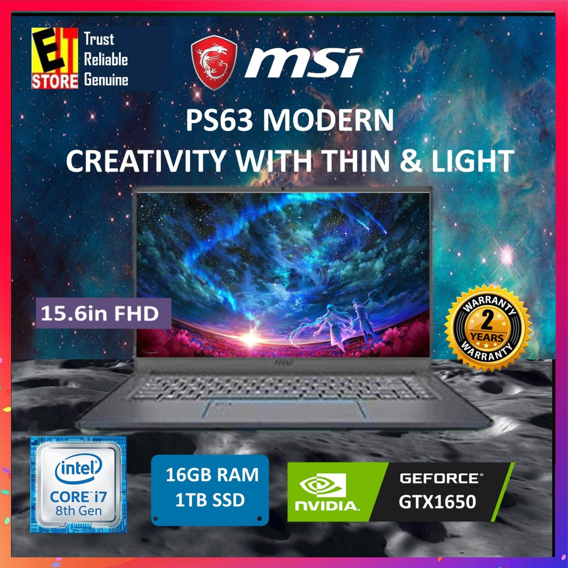 MSI PS63 MODERN 8SC-043MY BLACK (I7-8565U/8G*2/1TB SSD/GTX1650 4G/15.6/W10/2YRS) + BACKPACK Malaysia