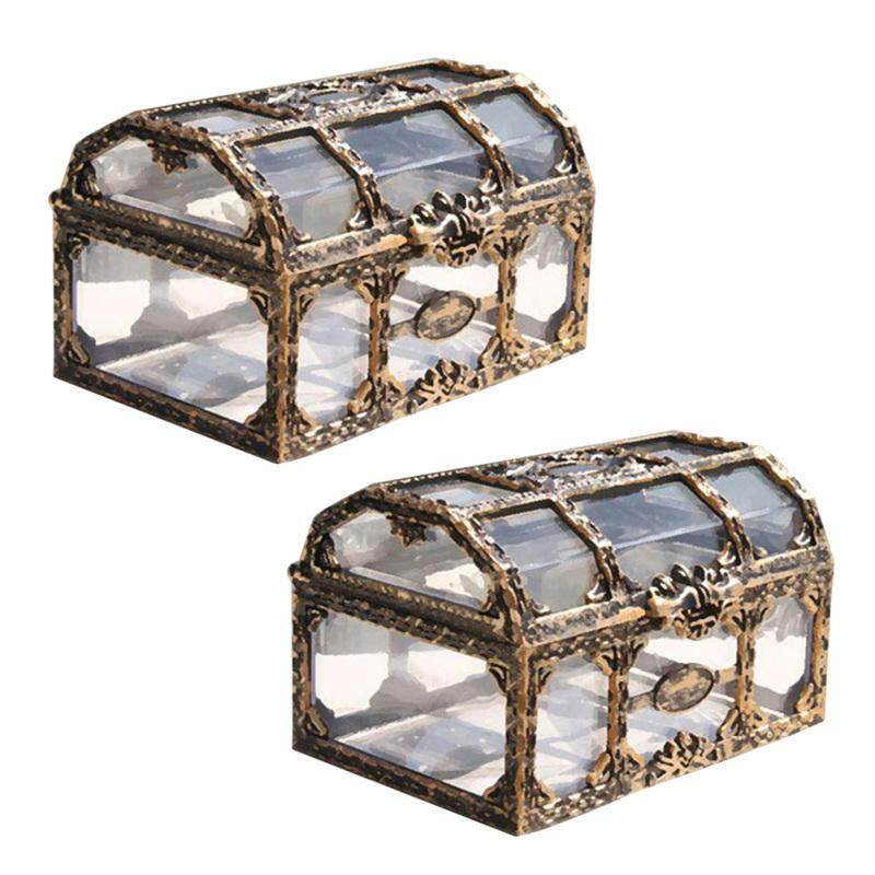 Chaoshihui 2pcs Plastic Transparent Pirate Treasure Box Crystal Gem Jewelry Box Storage Organizer Trinket Keepsake Treasure Chest