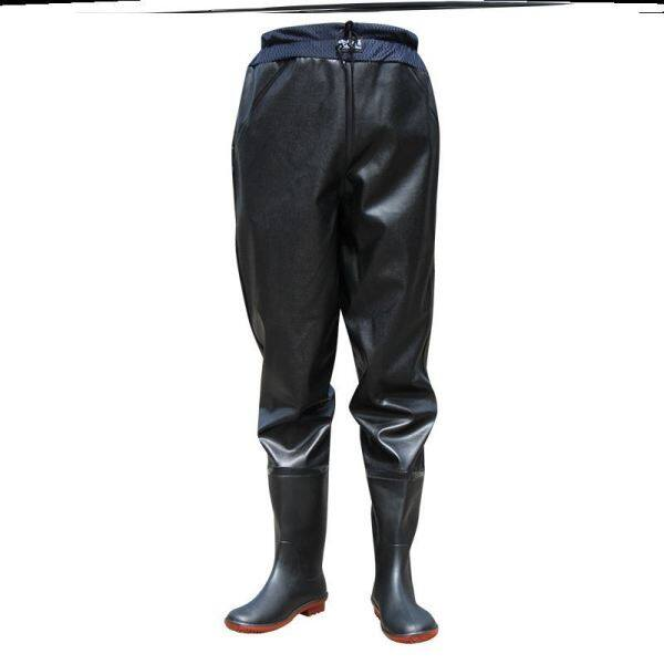 Waist pants, thickened half-length waterproof clothes, rain pants, rain boots, catch harpoon pants, male one-piece body water shoes, super light