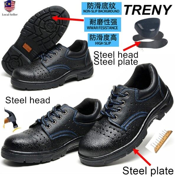 TRENY 201 Safety Shoes Safety boots Anti Slip Anti Smash Protective Steel Toe Cap Boots Men Shoes men safety shoes kasut safety safety shoes