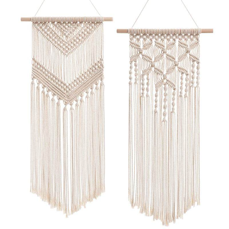2 Pcs Macrame Wall Hanging Decor Woven Wall Art Macrame Tapestry Boho Chic Home Decoration for Apartment Bedroom Nursery Gallery,13 Inch Wx27 Inch L and 13 Wx29 Inch L