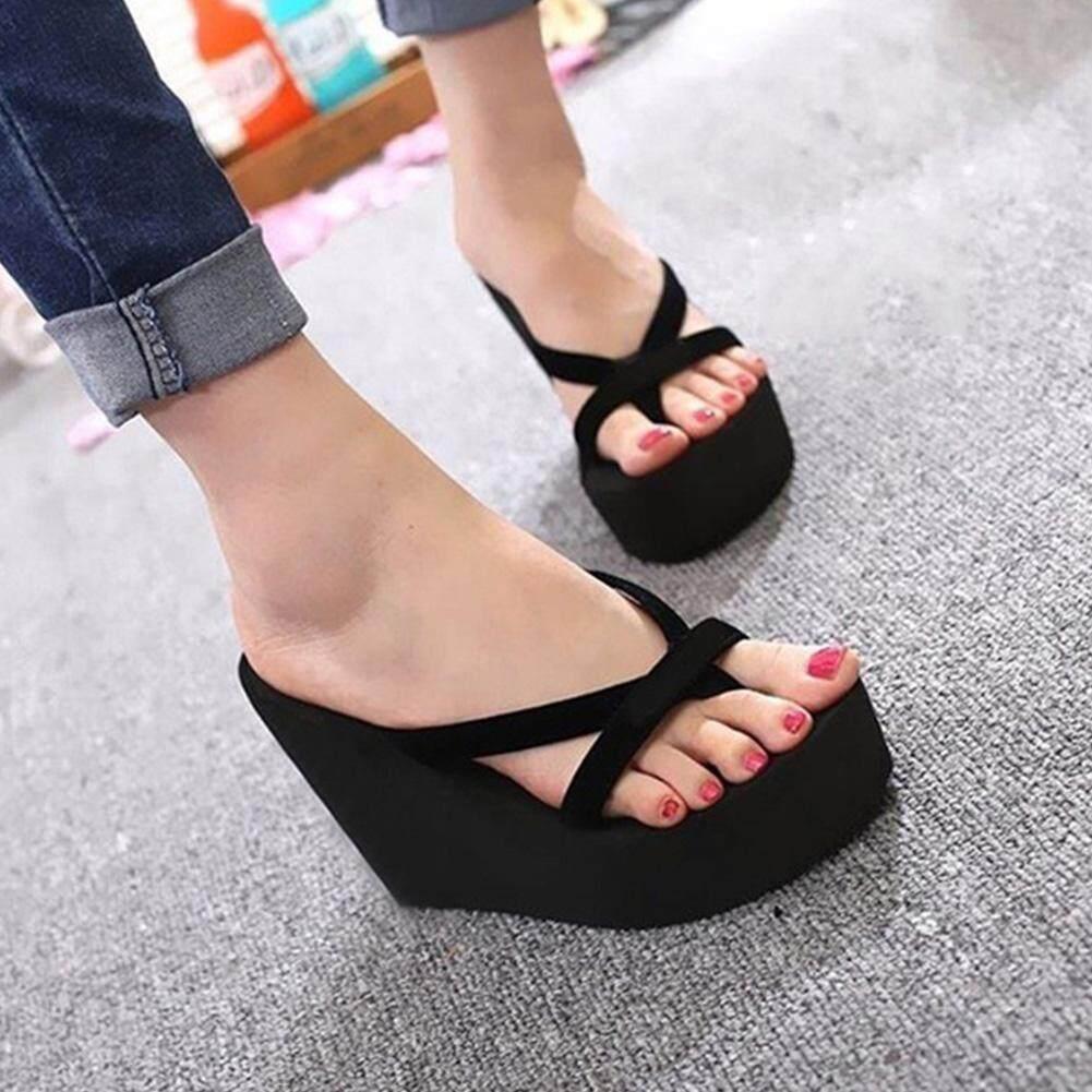 1f30531d7a9474 Fashion Women Flip Flops Slippers High Heel Platform Wedge Thick Beach  Casual Thong Sandals Shoes
