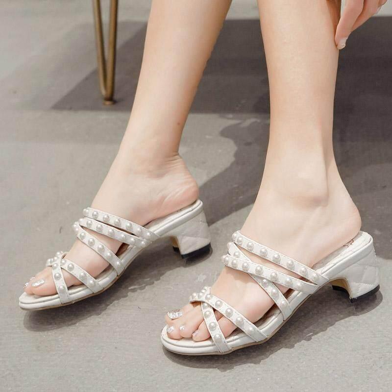 ผู้หญิงส้นสูงหนาสั้นแฟชั่น Slip - On รองเท้าแตะ Pearl By Xialu.