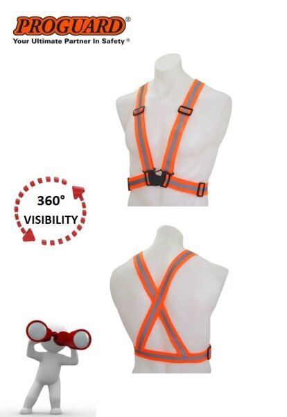 PROGUARD 360° Visible Safety Security High Visibility Elastic Reflective Strip with Adjustable Clips & Quick Lock