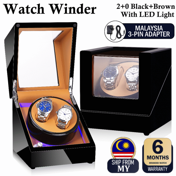 New Collection Premium Auto Watch Winder Automatic Rotate Watch Box 2 + 0 Black+Brown Premium PU Leather For Watch Collector Malaysia