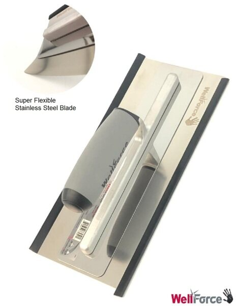 Wellforce Super Flexible Thin Stainless Steel Blade(0.3mm) Trowel Plastering Scaper For Drywall Joints Ceiling Compound And Construction
