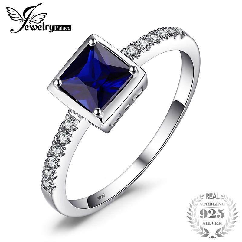 Jewelrypalace Square 0.9ct Menciptakan Sapphire Biru Keterlibatan Solitaire Cincin 925 Perak Berkilau