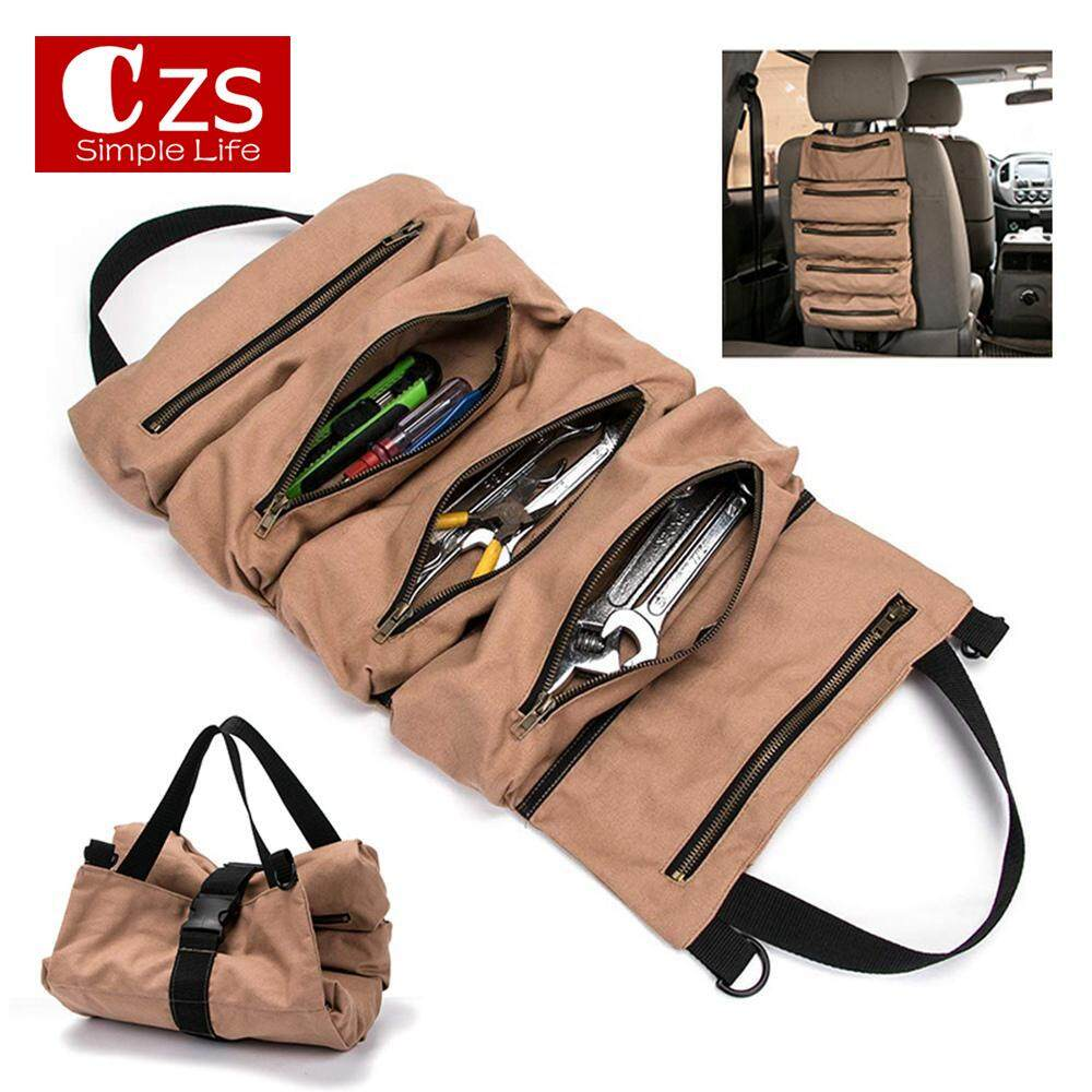 CZS Large Capacity Canvas Tool Bag Storage Organizer Foldable Rolling Repairing Tool Utility Bag With Handles 49x29cm