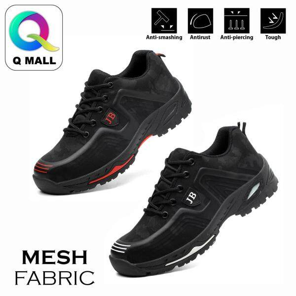 Q MALL MESH SAFETY SHOES Steel Toe Cap Mid Sole Medium Cut Fashion Unisex Shoes - 539 (BLACK RED/BLACK WHITE)