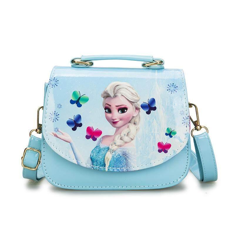 2019 new PU fashion cartoon cute childrens shoulder bag Diagonal package elsa  Sophia