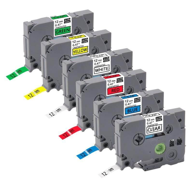 6PCS 12Mm TZe131 TZe231 TZe431 TZe531 TZe631 TZe731 Lableing Tapes for Brother P-Press PT-D210 PT-H110 PT-D600 Printers
