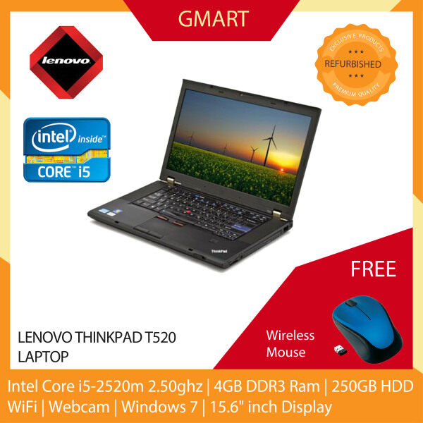Lenovo ThinkPad T520 Laptop / 15.6 inch LCD / Intel Core i5-2520M / 4GB DDR3 Ram / 250GB HDD / WiFi / Windows 7 / Webcam Malaysia