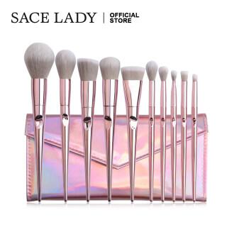 SACE LADY Kuas Make Up Bedak, 10 Buah Set Kuas Rias dengan Kantung untuk Foundation Concealer, Bedak Rias, Tas Kuas Rias thumbnail