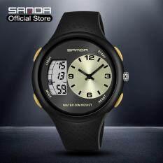 Đồng hồ Sanda cao cấp chính hãng màn hình kỹ thuật số có đèn LED dây đeo bằng cao su chống thấm nước thiết kế sang trọng và sành điệu cho nam