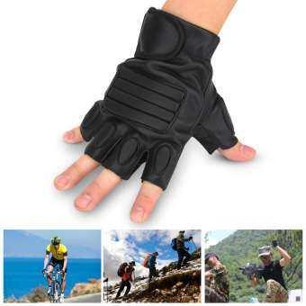 กีฬากลางแจ้งหนัง PU ทนทานครึ่งถุงมือแบบเปิดครึ่งนิ้วสำหรับการขี่จักรยาน Motorbiking ขับรถ-