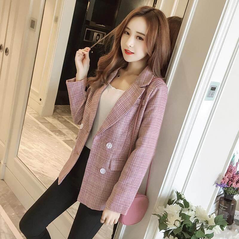 Female autumn loose suit new casual plaid blazers jacket coat women s slim  suits d43ceb38e7ee