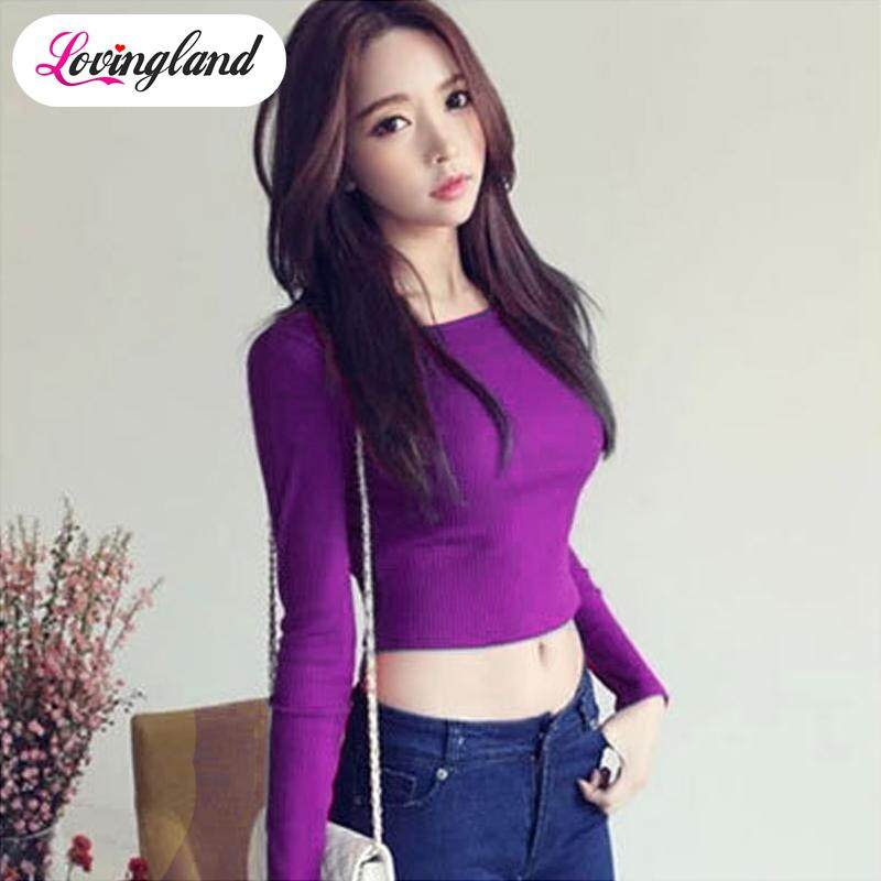 0f007b0fa8ef38 LD Women Yoga Suit Long Sleeves Crop Tops Round Neck High Waist T-shirt Slim