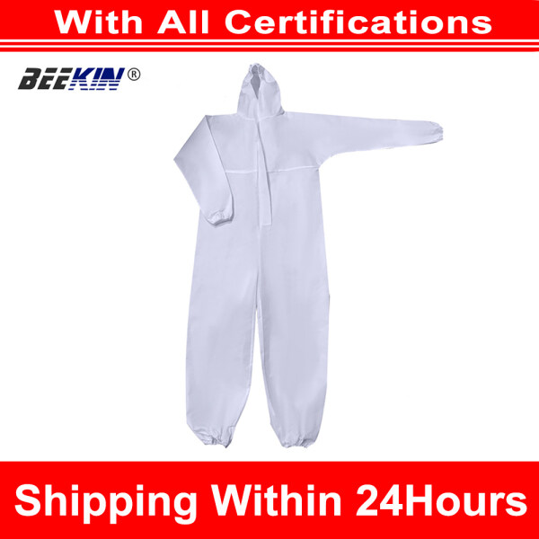 Docooler Breathable Disposable Medicial Coveralls Protective Clothing Hooded Suit with Elastic Cuffs Ankles Hoodie