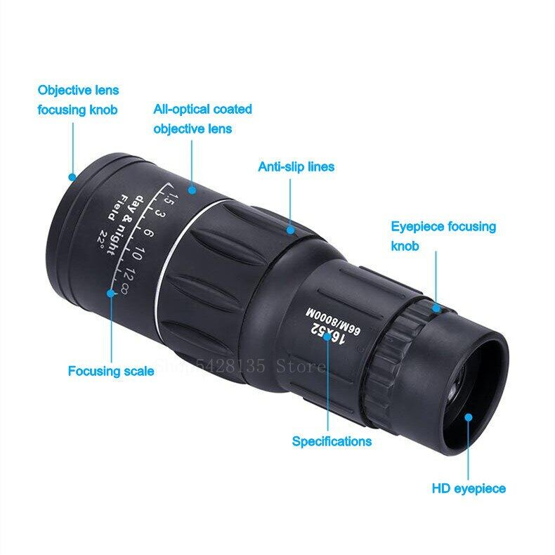 Bằng Một Mắt Kính Thiên Văn, HD Zoom Kính Thiên Văn Một Mắt Lấy Nét 16X52 Di Động, Spotting Scope Cầm Tay Cho Du Lịch Tham Quan Các Buổi Hòa Nhạc Cá