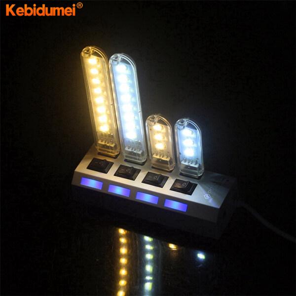 Kebidumei Đèn LED USB Mini Đèn Chiếu Sáng Trắng 3/8 LED Đèn Đọc Sách Để Bàn Đèn Cắm Trại Cho Ngân Hàng Điện Máy Tính Xách Tay Máy Tính