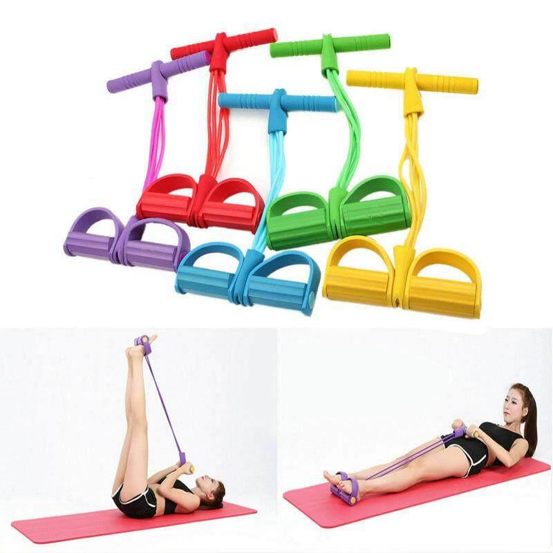 Offer tại Lazada cho Happybuyner Bàn Đạp Chân Dây Kéo Tập Thể Dục Kháng Lực Thiết Bị Yoga 4 Ống Ngồi Lên