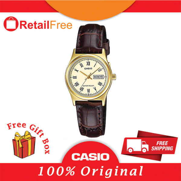 CASIO LTP-V006GL-9B STANDARD Analog Ladies Watch  Gold Case Leather Band Day Date Display Malaysia